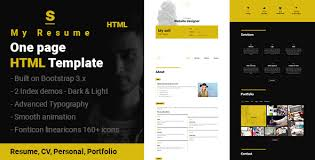 resume one page template s resume cv portfolio one page html template by sushan_jariwala