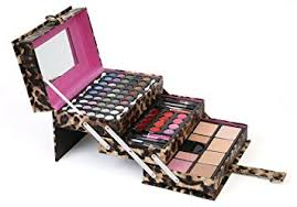 ivation all in one makeup kit in highly fashionable leopard leather look train