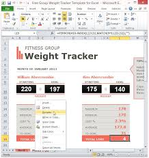 weight group fitness progress chart template for excel