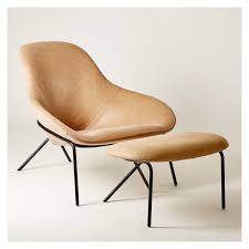 cross leg lounge chair ottoman old velvet leather