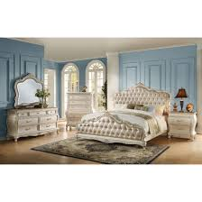Bedroom Furniture With Granite Tops Acme Chantelle Bedroom Set In Rose Gold Pearl White For From