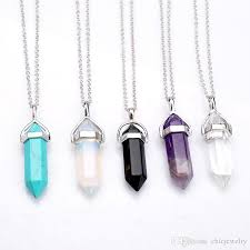 whole new bullet shape real amethyst natural crystal quartz healing point chakra bead gemstone opal stone pendant chain necklaces jewelry free dhl gold