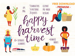 Happy Harvest Time Vector Set By Graphics Collection On Dribbble