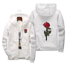 rose jacket windbreaker men and women s jacket new fashion white and black roses outwear coat cool mens jackets man leather jacket from cinda02