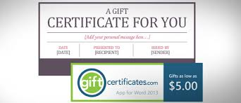 Word Gift Card Template Free Certificate Template For Microsoft Word Gift Card