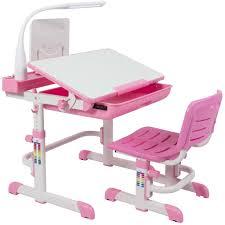 Height Adjustable Kids Desk & Chair Set Workstation - Pink