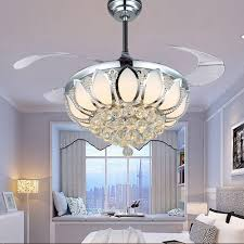 glamorous remote control chandelier 6 modern ceiling fan crystal ventilador de teto with lights invisiable led folding
