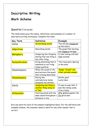 descriptive writing full assessment including insert and mark  descriptive writing full assessment including insert and mark scheme by tandlguru teaching resources tes