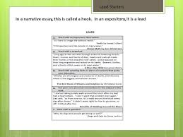 grammar revision editing ppt  29 lead starters in a narrative essay this is called a hook in an expository it is a lead