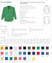 Port Authority Color Chart Mens Shirt Long Sleeve Easy Care