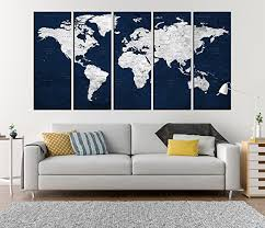 navy blue push pin world map canvas print extra large canvas art for living room  on extra large multi panel wall art with amazon navy blue push pin world map canvas print extra large