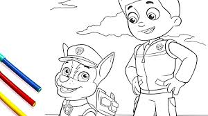 PAW Patrol Ryder and Chase Coloring Pages - Coloring Book for Kids ...
