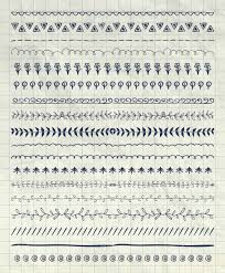 collection of pen drawing doodle pattern brushes tiles line borders on notebook paper texture