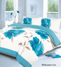 teal printed bedding king size duvet quilt cover bed set co uk kitchen home