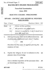 ancient and medieval western philosophy social work ancient and medieval western philosophy 2012 social work philosophy bachelor university exam