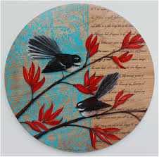 fantail on flax by justine hawksworth acrylic and pencil on board 40cm diameter available from black door gallery parnell