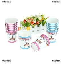 WHSG <b>10pcs Unicorn cups</b> disposable paper kids birthday unicorn ...