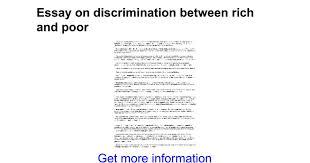 essay on discrimination between rich and poor google docs