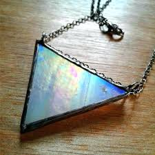 stained glass patina stained glass pendant glowing necklace triangle image 0 how to make black