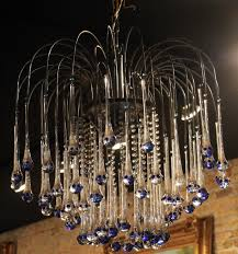 fascinating glass drops chandelier of mid century modern french with blue tipped