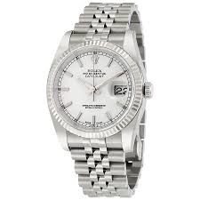 rolex datejust white index dial 18k white gold fluted bezel rolex datejust white index dial 18k white gold fluted bezel jubilee bracelet men s watch 116234wsj