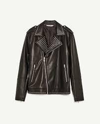 zara man black faux leather studded biker jacket ss17 size xl extra large new