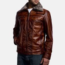 mens evan hart fur brown leather jacket 3