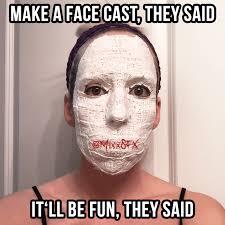 plaster face cast for sfx makeup