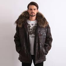 mens coffee leather jacket european winter nubuck 3m cotton coats big rac fur collar