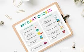 Free Chore List Charts Free Printable Chore Chart For 5 6 Year Olds The