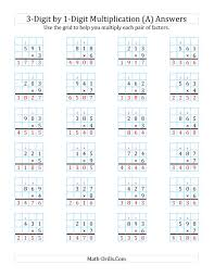 3 Digit By 1 Digit Multiplication With Grid Support A