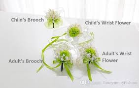 Heb Corsages Calla Lily Wedding Brooches And Wrist Flowers White Green Corsage Boutonniere Stick And Wrist Corsage For Adult Child Bridesmaids Best Men Heb Wedding