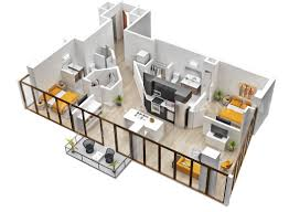 Two Bedroom HouseApartment Floor Plans - Rental apartment one bedroom apartment open floor plans