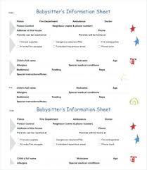 babysitter information sheet printable information sheet template noshot info