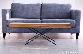 folding x base coffee table with metal