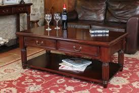 la roque dark wood coffee table with 2
