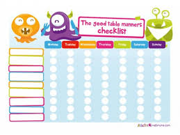 Mealtime Reward Charts Good Table Manners Table Manners