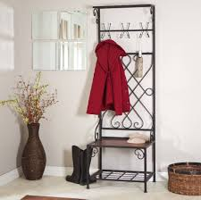 Metal Entryway Bench With Coat Rack Furniture Metal Coat Rack And Entryway Bench With White Cushion 43