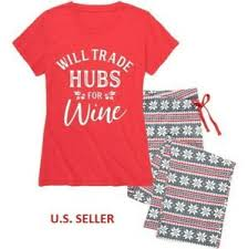 Chat Hubs Details About Womens Pajama Set Will Trade Hubs For Wine Flannel Bottoms Nap Chat Xl