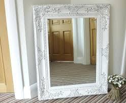 mirror with white frame large rectangular vintage wood frame fl decoration sides and corners white finish