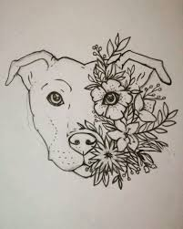 Staffy Tattoo Staffordshire Bull Terrier Floral Flower Tattoo