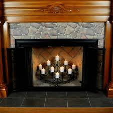 unique black fireplace candelabra made of metal with interesting mantel kit for heat warming room decor
