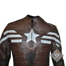 captain america the winter solr stealth strike leather jacket dark brown