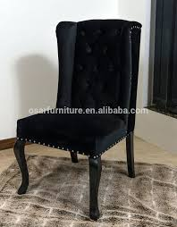 wing back dining chair luxury wing back black velvet dining chair with ring pull salon upholstered wing dining chair