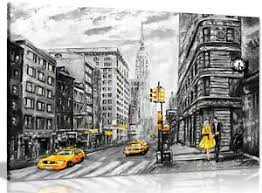 image is loading black white yellow new york city oil painting  on canvas wall art new york city with black white yellow new york city oil painting canvas wall art