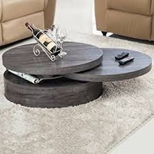 VIRREA Oak Round Rotating Wood Coffee Table With 3 Layers Home Living Room  Furniture