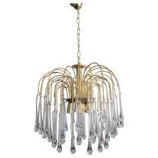 vintage mid century chandelier murano teardrop crystals for