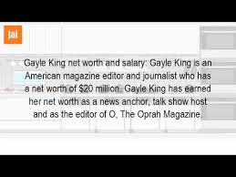 What Is Networth What Is The Net Worth Of Gayle King Youtube