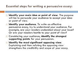 the persuasive essay format and style persuasive essay  when  essential steps for writing a persuasive essay  identify your main idea or point of