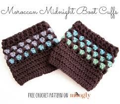 moroccan midnight boot cuffs free crochet pattern on moogly
